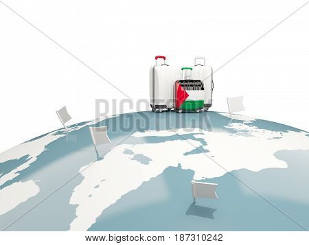 Luggage With Flag Of Palestinian Territory. Three Bags On Top Of Globe