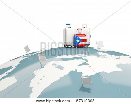 Luggage With Flag Of Puerto Rico. Three Bags On Top Of Globe