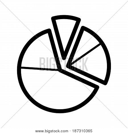 Pie chart diagram vector icon. Black and white graphic illustration. Outline linear analytical icon. eps 10