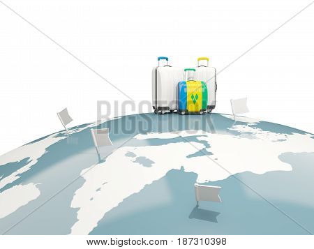 Luggage With Flag Of Saint Vincent And The Grenadines. Three Bags On Top Of Globe