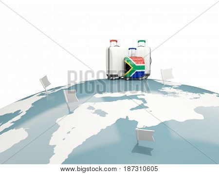 Luggage With Flag Of South Africa. Three Bags On Top Of Globe
