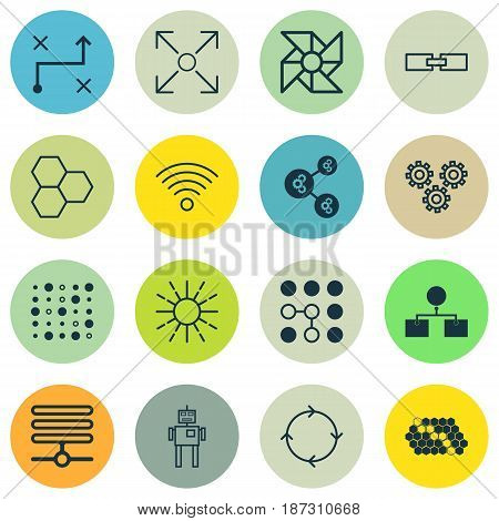 Set Of 16 Robotics Icons. Includes Information Components, Cyborg, Hive Pattern And Other Symbols. Beautiful Design Elements.