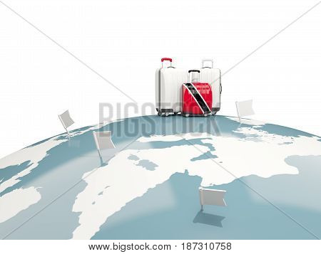 Luggage With Flag Of Trinidad And Tobago. Three Bags On Top Of Globe