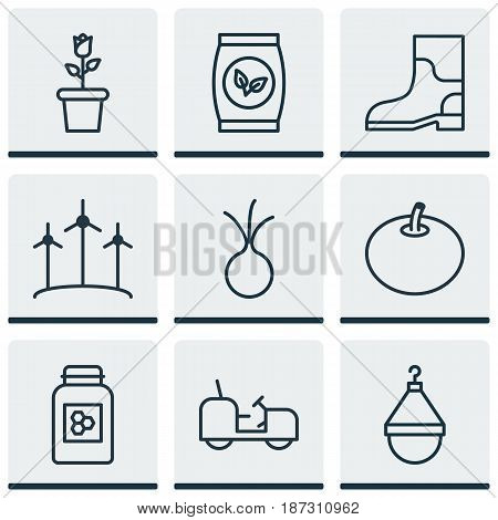 Set Of 9 Gardening Icons. Includes Radish, Agrimotor, Windmill And Other Symbols. Beautiful Design Elements.