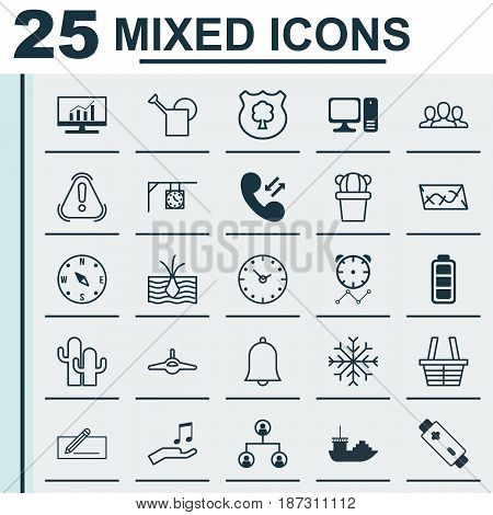 Set Of 25 Universal Editable Icons. Can Be Used For Web, Mobile And App Design. Includes Elements Such As Society, Reminder, Snow And More.
