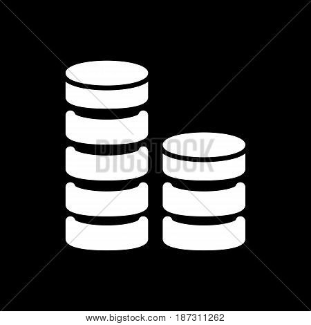 Coin stack vector icon. Black and white money illustration. Solid linear finance icon. eps 10