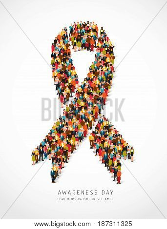 Awareness day. Large group of people are standing in the figure of the awareness tape. Vector illustration on white background. Concept of health