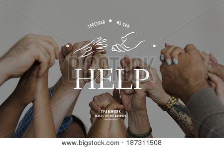 Helping Hands Volunteer Support Community Service Graphic