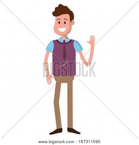 cute man with hand up and casual wear, vector illustration