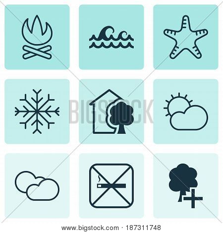 Set Of 9 Eco-Friendly Icons. Includes Ocean Wave, Cloud Cumulus, Bonfire And Other Symbols. Beautiful Design Elements.