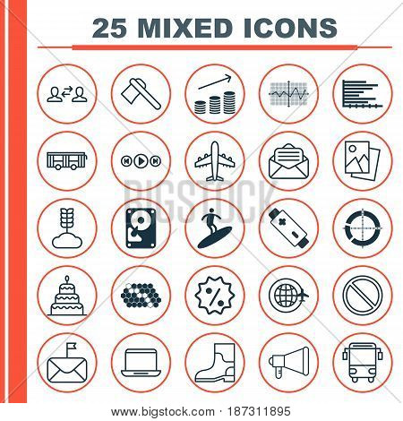 Set Of 25 Universal Editable Icons. Can Be Used For Web, Mobile And App Design. Includes Elements Such As Crooked Pointed Line, Bars Chart, Coins Growth And More.