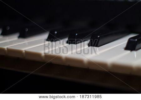 Piano keys. Close-up of piano keyboard. Closeup.