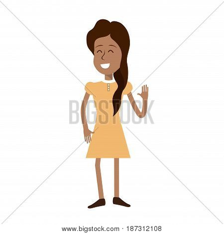 pretty girl with hand up and nice dress, vector illustration