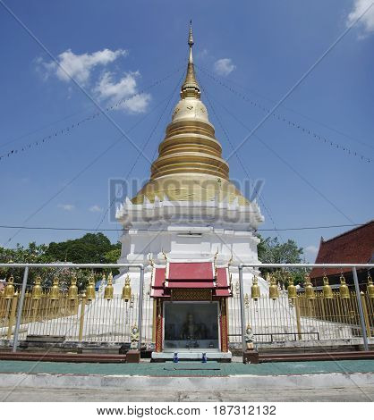 View Landscape Building And Chedi Of Wat Wachirathammasatit Or Wat Thung Satit Temple In Bangkok, Th