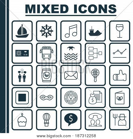 Set Of 25 Universal Editable Icons. Can Be Used For Web, Mobile And App Design. Includes Elements Such As Wineglass, Globe Search, Sunrise And More.