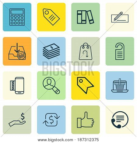 Set Of 16 Commerce Icons. Includes E-Trade, Recommended, Calculator And Other Symbols. Beautiful Design Elements.