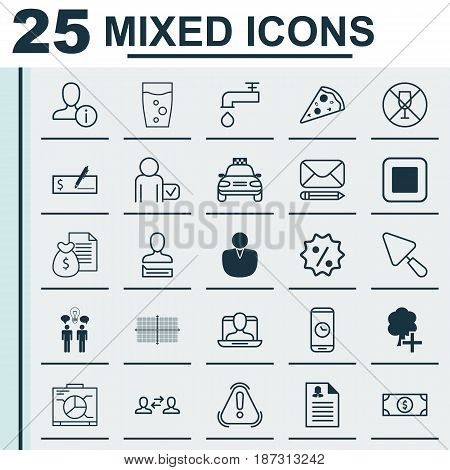 Set Of 25 Universal Editable Icons. Can Be Used For Web, Mobile And App Design. Includes Elements Such As Female Application, Rebate Sign, Call Duration And More.