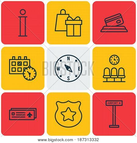 Set Of 9 Travel Icons. Includes Appointment, Seats, Credit Card And Other Symbols. Beautiful Design Elements.