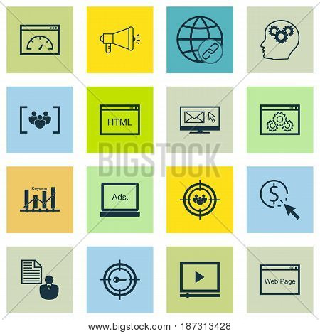 Set Of 16 SEO Icons. Includes Questionnaire, Loading Speed, Video Player And Other Symbols. Beautiful Design Elements.
