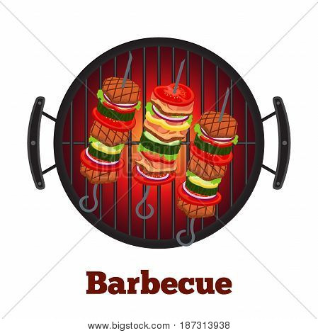 Barbecue pan with kebab, fried meat on skewers. bbq party banner. Fried meat, sausages. Made in cartoon flat style.
