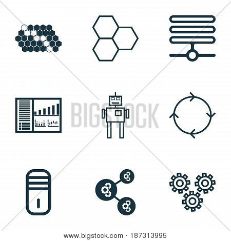 Set Of 9 Machine Learning Icons. Includes Mechanism Parts, Cyborg, Mainframe And Other Symbols. Beautiful Design Elements.
