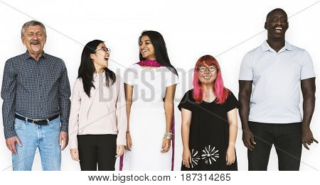 Group of Diverse People Stand Together Studio Portrait