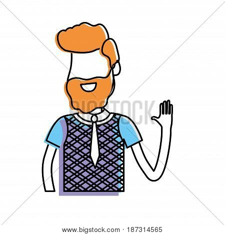 cute man with hand up and nice wear, vector illustration
