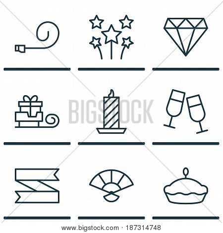 Set Of 9 Happy New Year Icons. Includes Brilliant, Toboggan, Champagne Glasses And Other Symbols. Beautiful Design Elements.