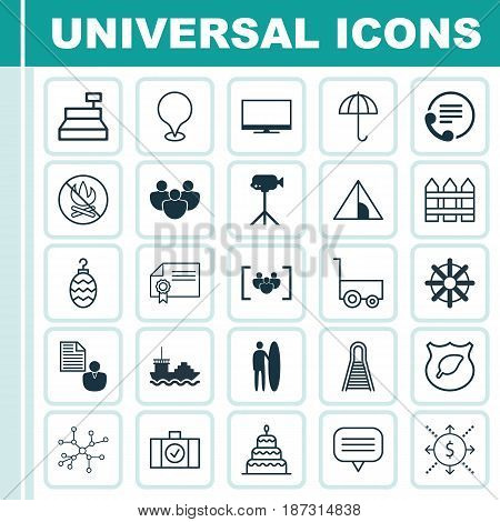 Set Of 25 Universal Editable Icons. Can Be Used For Web, Mobile And App Design. Includes Elements Such As Guard Tree, Cargo Boat, Fire Banned And More.