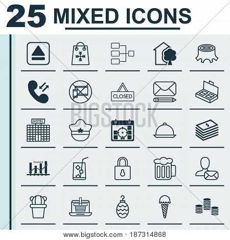 Set Of 25 Universal Editable Icons. Can Be Used For Web, Mobile And App Design. Includes Elements Such As Ale, Document Suitcase, Frozen Food And More.