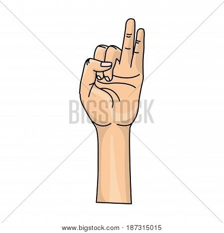 hand with pinky and ring finger up symbol, vector illustration