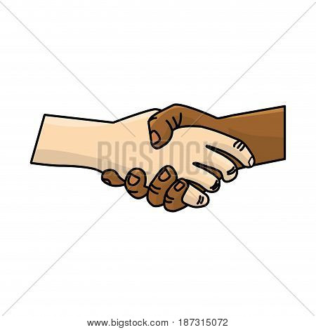 nice hands together like friendship symbol, vector illustration