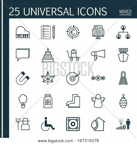 Set Of 25 Universal Editable Icons. Can Be Used For Web, Mobile And App Design. Includes Elements Such As Reminder, Accessibility, Home And More.