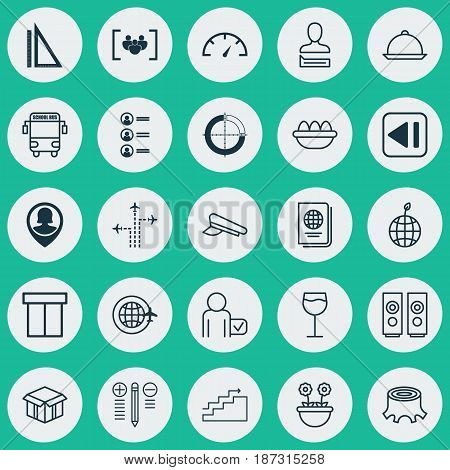 Set Of 25 Universal Editable Icons. Can Be Used For Web, Mobile And App Design. Includes Elements Such As Job Applicants, Globetrotter, Open Cardboard And More.