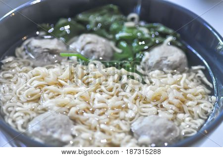 Chinese noodle or semi-finished noodle with meatball and vegetable