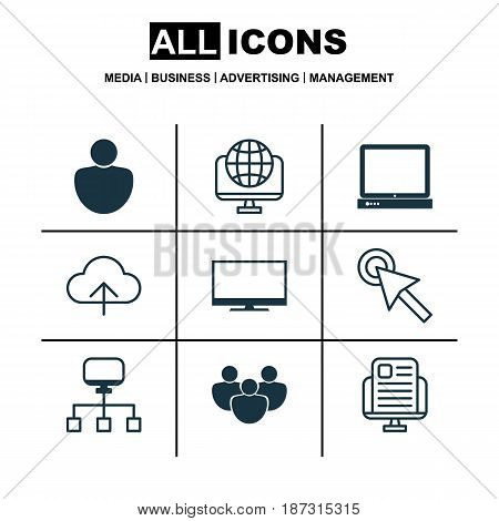 Set Of 9 Web Icons. Includes Data Synchronize, Local Connection, Display And Other Symbols. Beautiful Design Elements.