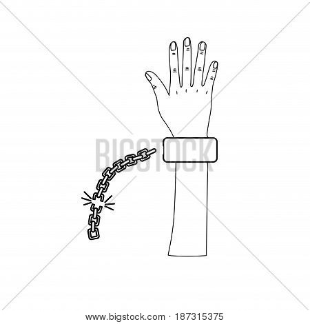 line cute hand up with metallic chain, vector illustration design