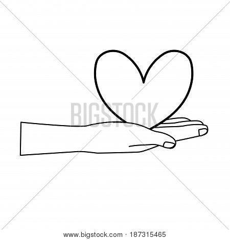 line cute hand with nice heart over, vector illustration