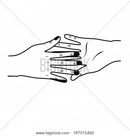 line hands giving the peace and friendship, vector illustration