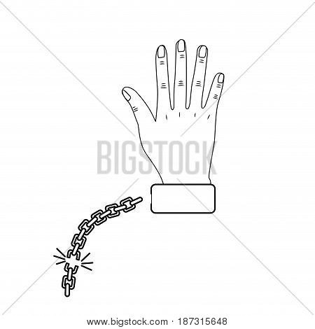 line cute hand with metallic chain, vector illustration design
