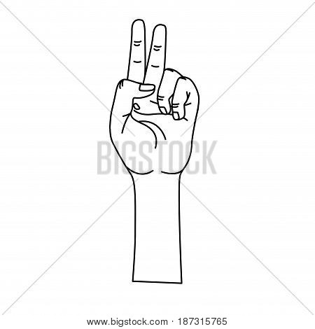 line hand with middle finger and fingerprint up symbol, vector illustration