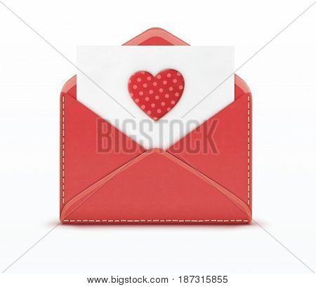 Vector illustration of love letter concept with open red envelope and white paper with big red spotted heart