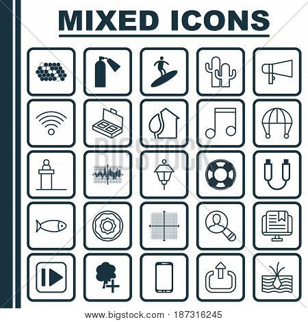 Set Of 25 Universal Editable Icons. Can Be Used For Web, Mobile And App Design. Includes Elements Such As Note, Lifebuoy, Bar Graph On Grid And More.