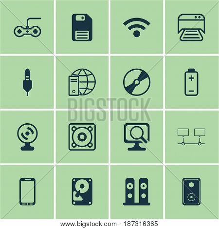 Set Of 16 Computer Hardware Icons. Includes Internet Network, Aux Cord, Audio Device And Other Symbols. Beautiful Design Elements.