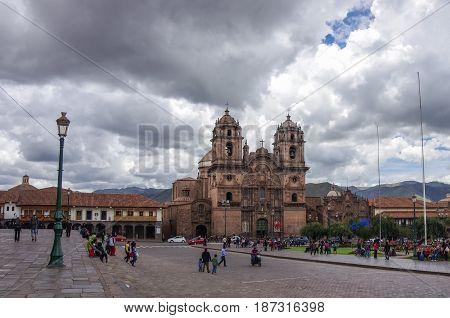 Catedral Iglesia de la Compania de Jesus en Plaza de Armas in Cusco old city Peru