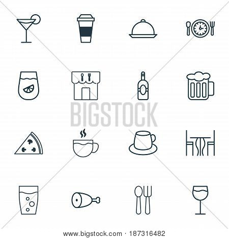 Set Of 16 Food Icons. Includes Meal Hour, Wineglass, Coffee Cup And Other Symbols. Beautiful Design Elements.