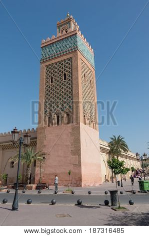 Marrakesh, Morocco - May 3, 2017: The Moulay El Yazid Mosque in Marrakesh