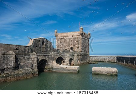 Sqala Du Port ( Northern Scala ), A Defensive Tower At The Fishing Port Of Essaouira, Moroc.