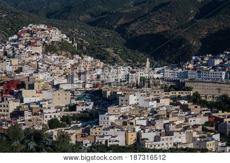 Panorama View Over The Holy City Of Moulay Idriss Zerhoun Including The Tomb And Zawiya Of Moulay Id