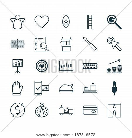 Set Of 25 Universal Editable Icons. Can Be Used For Web, Mobile And App Design. Includes Elements Such As Report Demonstration, Baggage Carousel, Plastic Card And More.